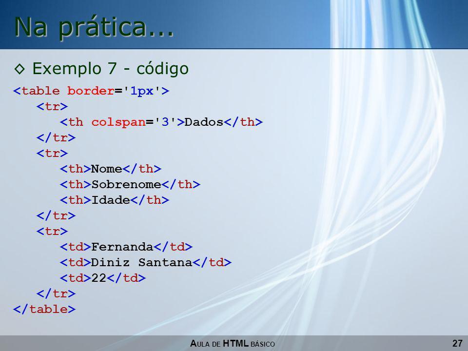Na prática... Exemplo 7 - código <table border= 1px > <tr>