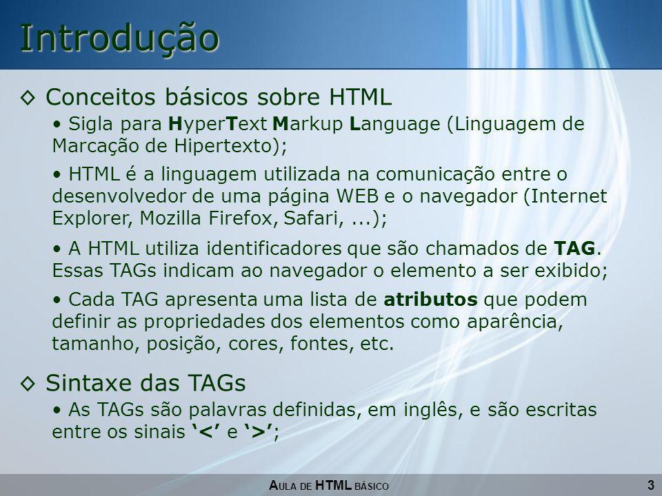Introdução Conceitos básicos sobre HTML Sintaxe das TAGs