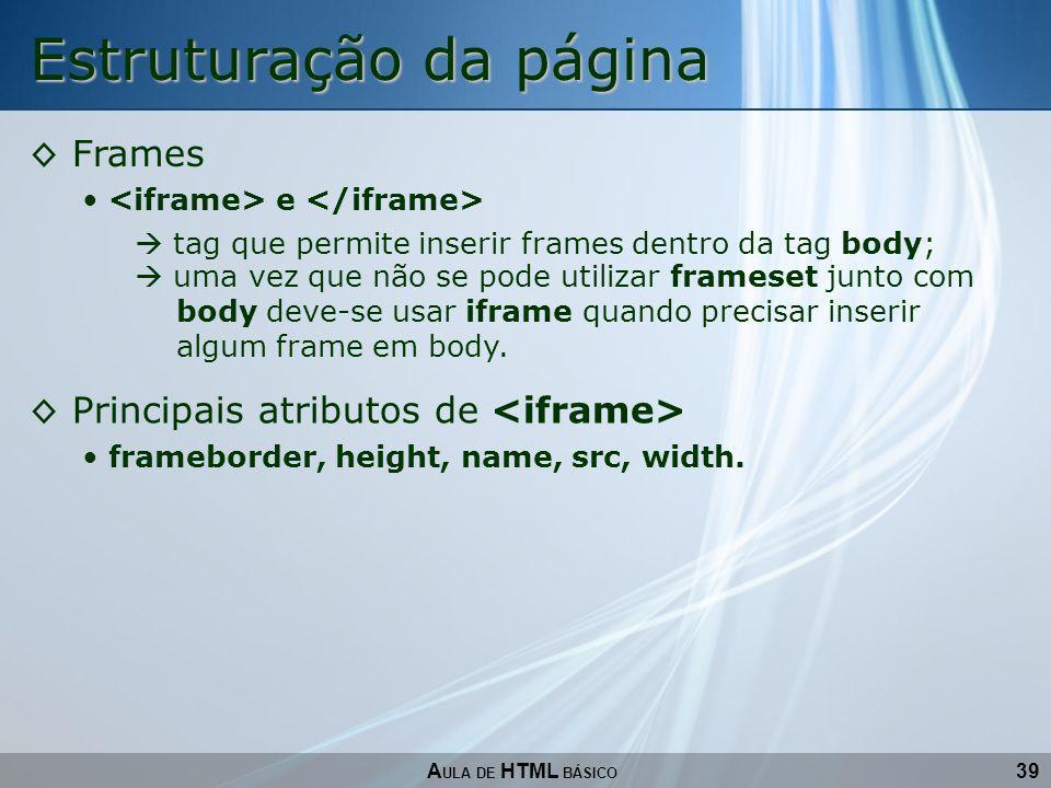 Estruturação da página