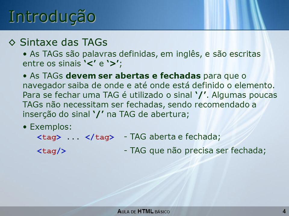 Introdução Sintaxe das TAGs
