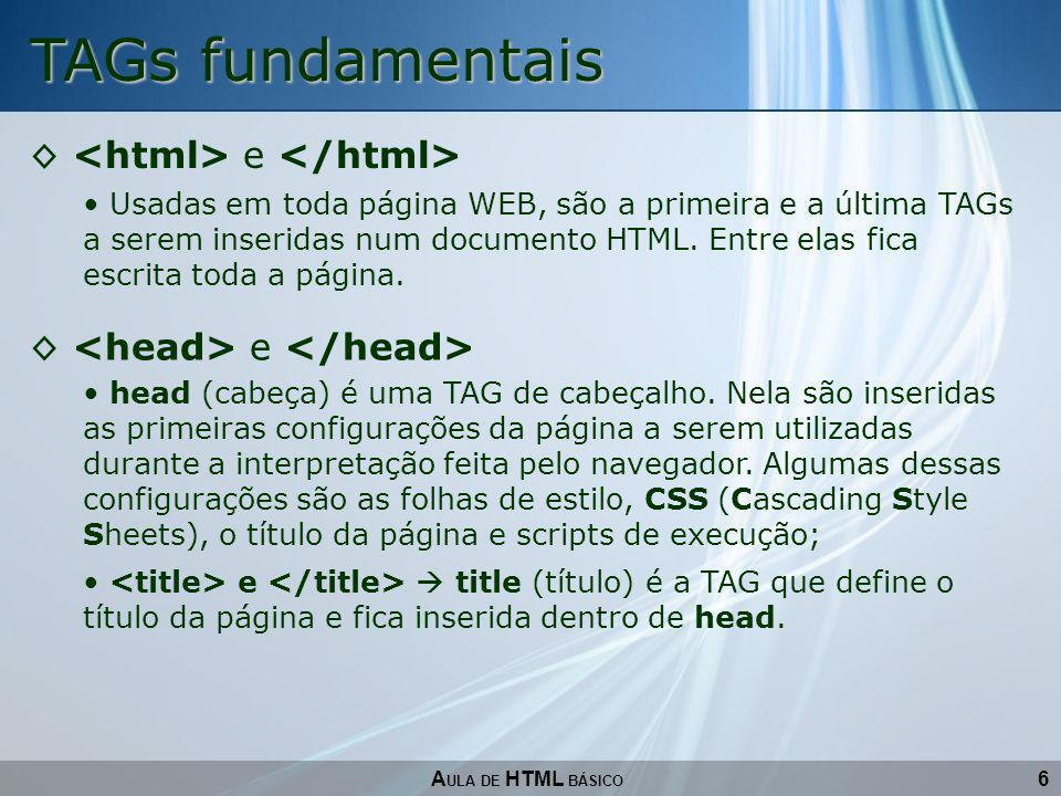 TAGs fundamentais <html> e </html>