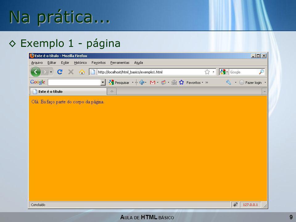 Na prática... Exemplo 1 - página AULA DE HTML BÁSICO 9
