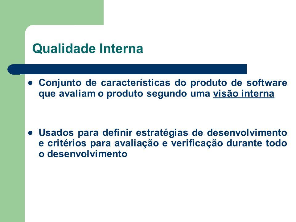 Qualidade Interna Conjunto de características do produto de software que avaliam o produto segundo uma visão interna.