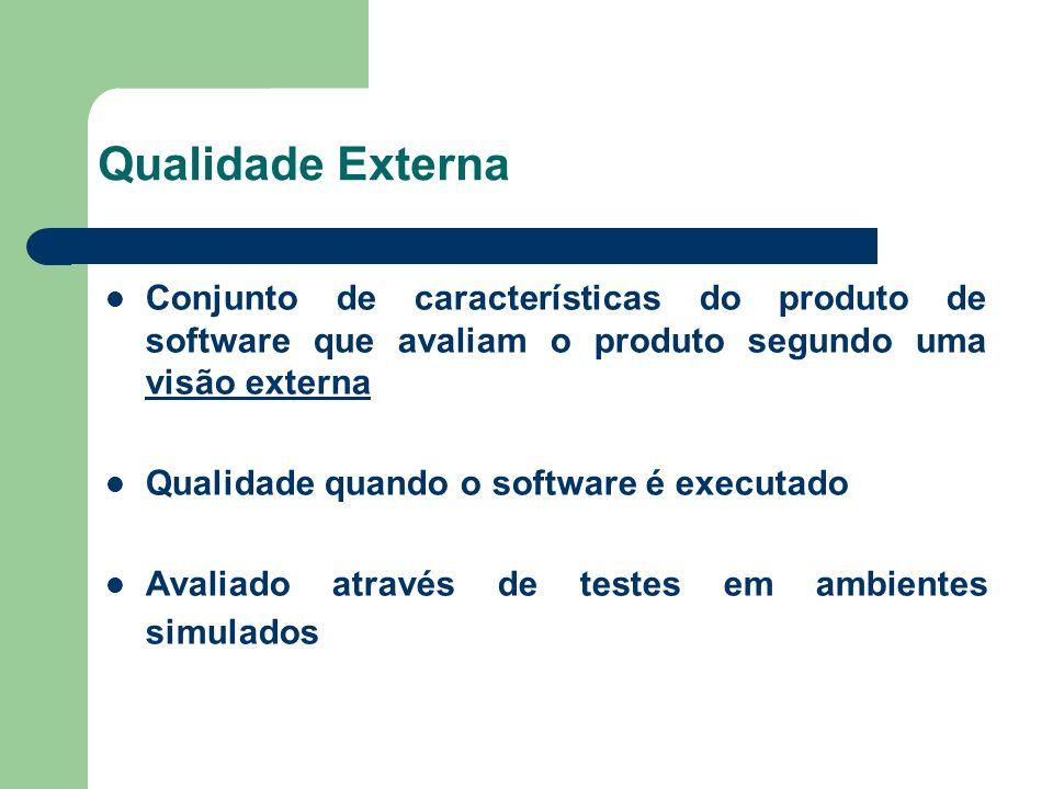 Qualidade Externa Conjunto de características do produto de software que avaliam o produto segundo uma visão externa.