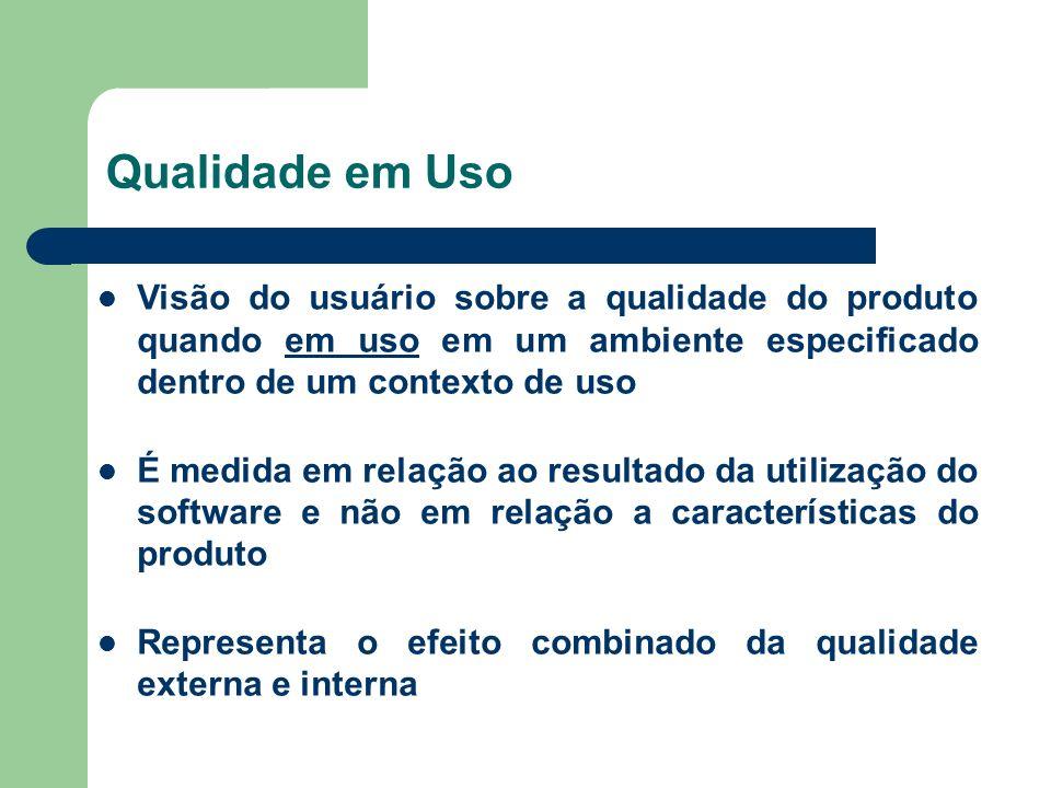 Qualidade em Uso Visão do usuário sobre a qualidade do produto quando em uso em um ambiente especificado dentro de um contexto de uso.