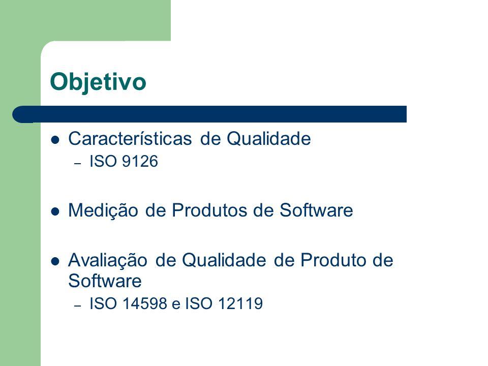 Objetivo Características de Qualidade Medição de Produtos de Software