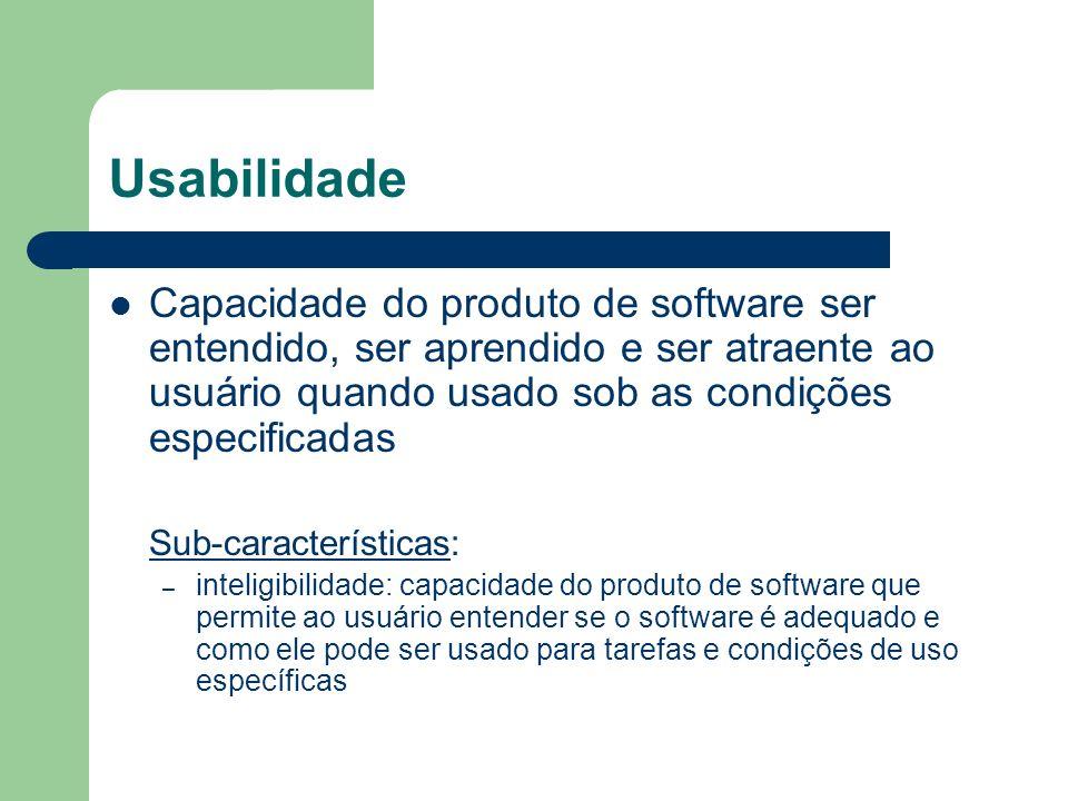 Usabilidade Capacidade do produto de software ser entendido, ser aprendido e ser atraente ao usuário quando usado sob as condições especificadas.
