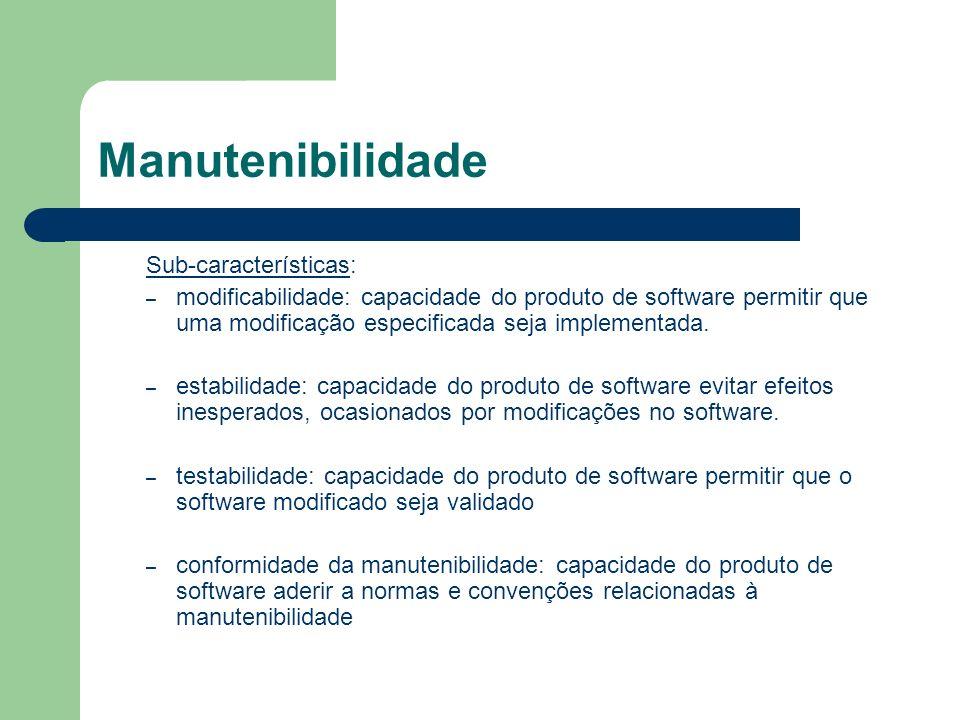 Manutenibilidade Sub-características: