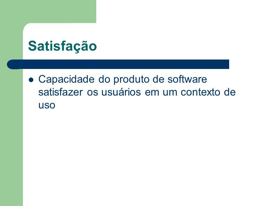 Satisfação Capacidade do produto de software satisfazer os usuários em um contexto de uso