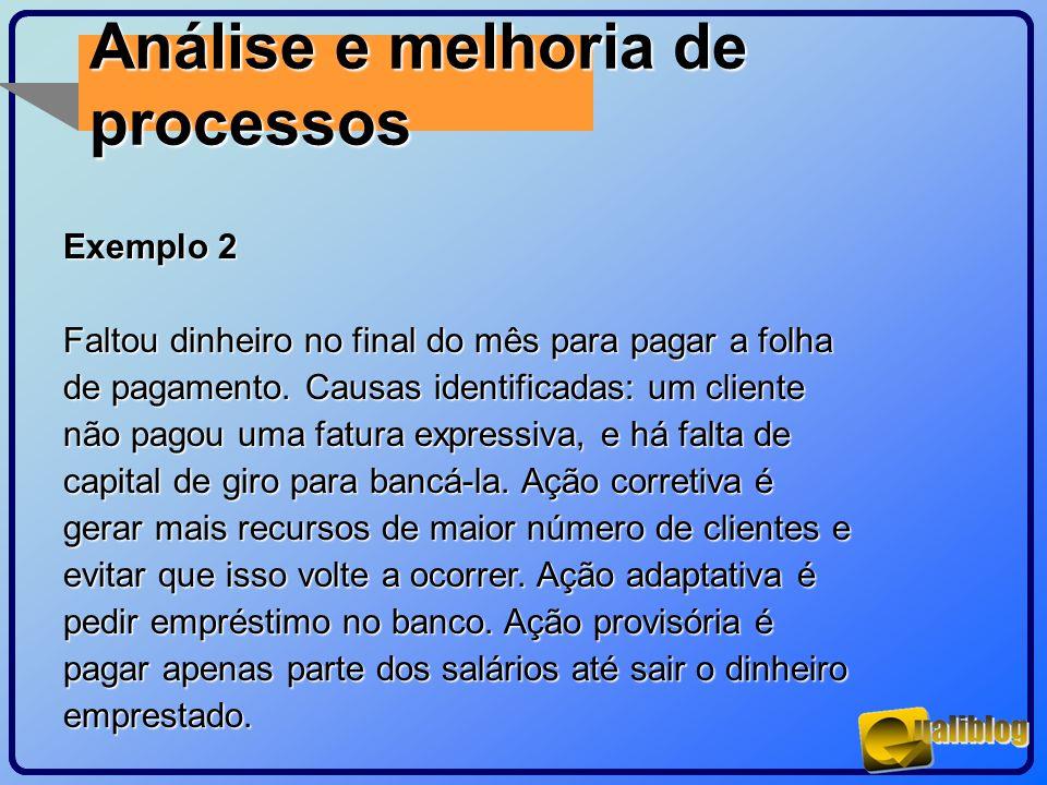 Análise e melhoria de processos Exemplo 2