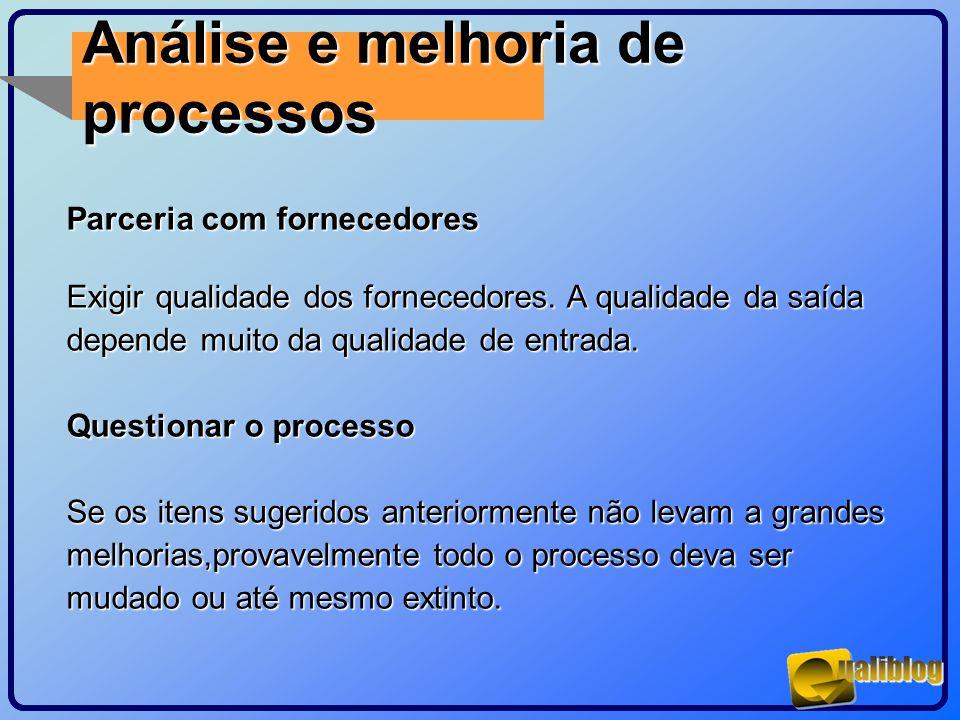 Análise e melhoria de processos Parceria com fornecedores