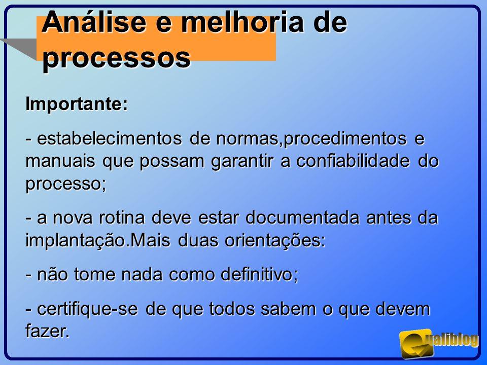 Análise e melhoria de processos Importante: