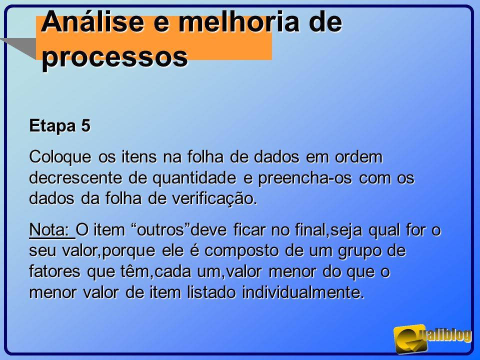Análise e melhoria de processos Etapa 5