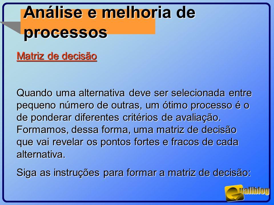 Análise e melhoria de processos Matriz de decisão