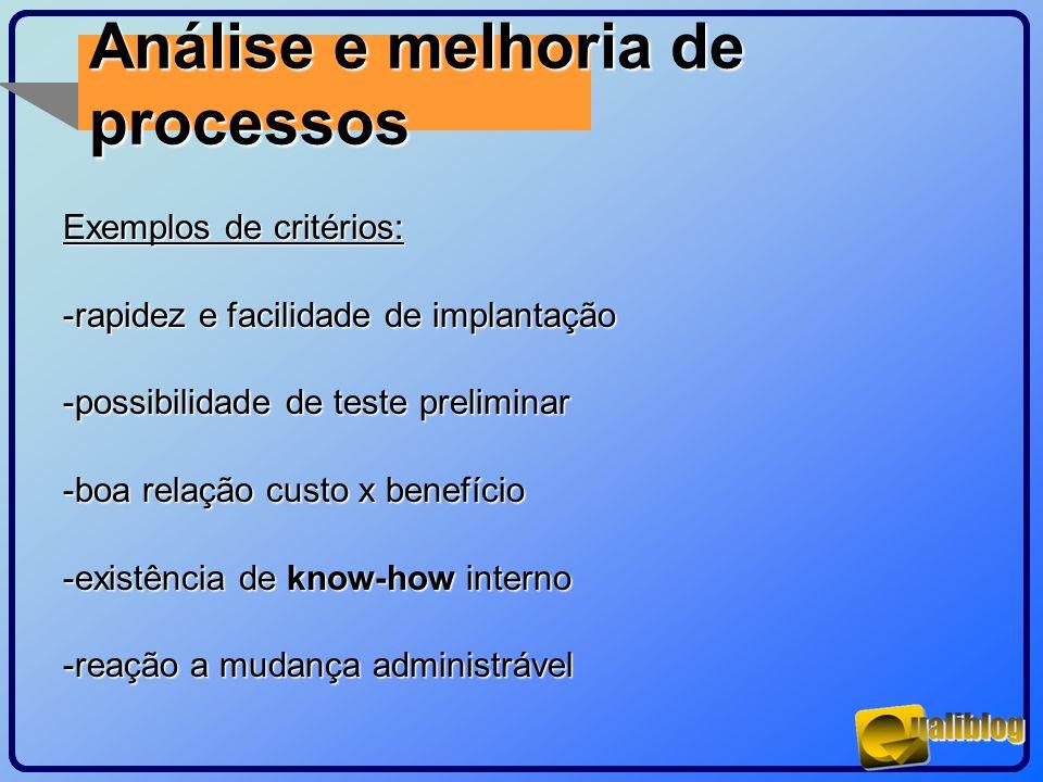 Análise e melhoria de processos Exemplos de critérios: