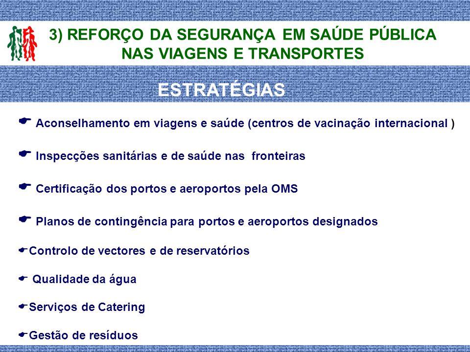 3) REFORÇO DA SEGURANÇA EM SAÚDE PÚBLICA NAS VIAGENS E TRANSPORTES