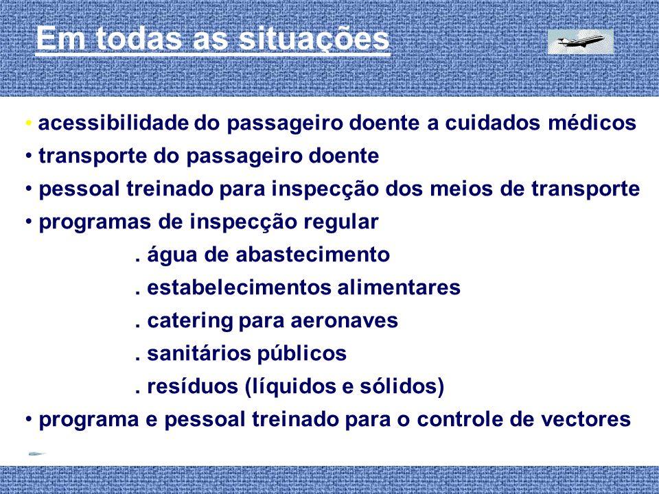 Em todas as situações acessibilidade do passageiro doente a cuidados médicos. transporte do passageiro doente.