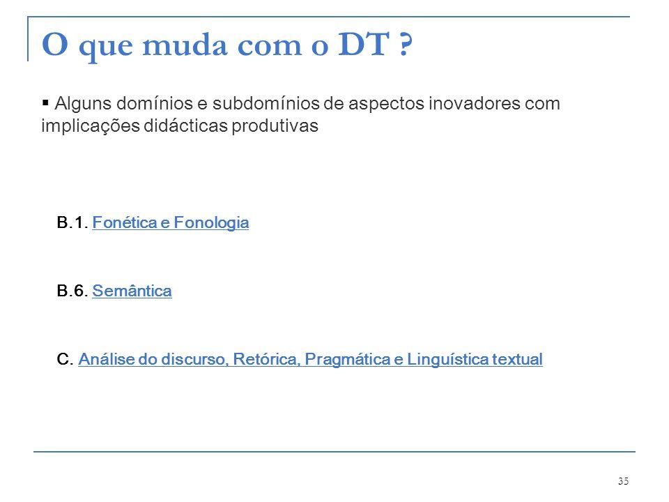 O que muda com o DT Alguns domínios e subdomínios de aspectos inovadores com implicações didácticas produtivas.