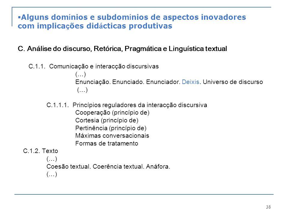 C. Análise do discurso, Retórica, Pragmática e Linguística textual