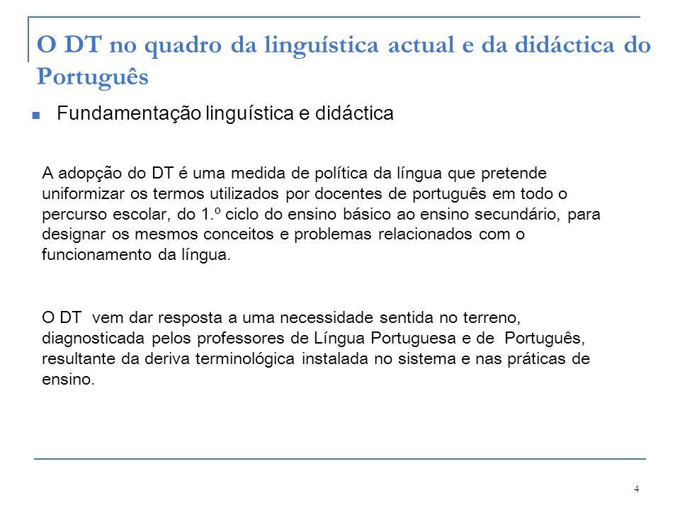 O DT no quadro da linguística actual e da didáctica do Português