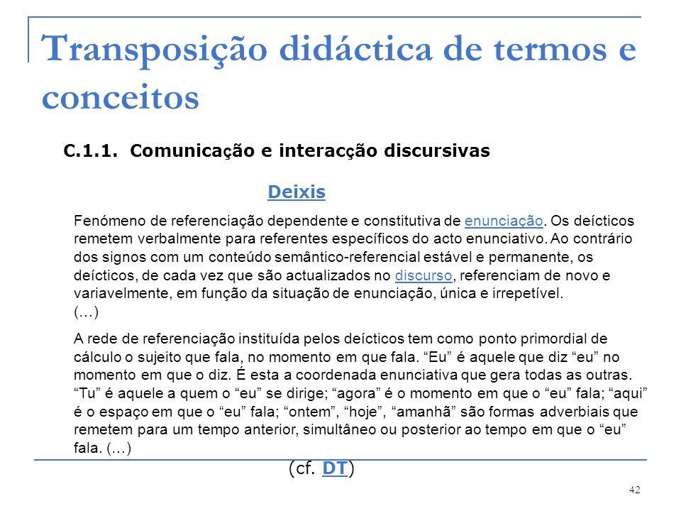 Transposição didáctica de termos e conceitos