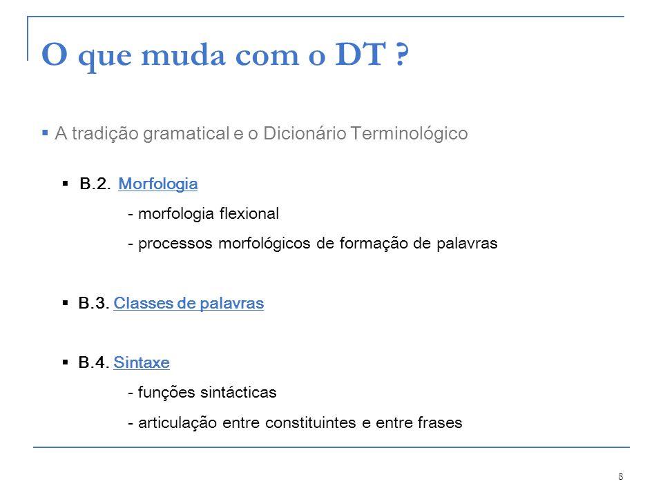 O que muda com o DT A tradição gramatical e o Dicionário Terminológico. B.2. Morfologia. - morfologia flexional.