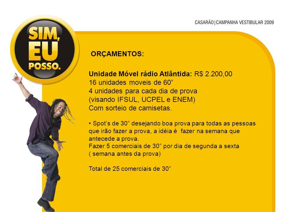 Unidade Móvel rádio Atlântida: R$ 2.200,00 16 unidades moveis de 60