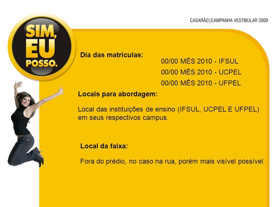 Dia das matrículas: 00/00 MÊS 2010 - IFSUL. 00/00 MÊS 2010 - UCPEL. 00/00 MÊS 2010 - UFPEL. Locais para abordagem: