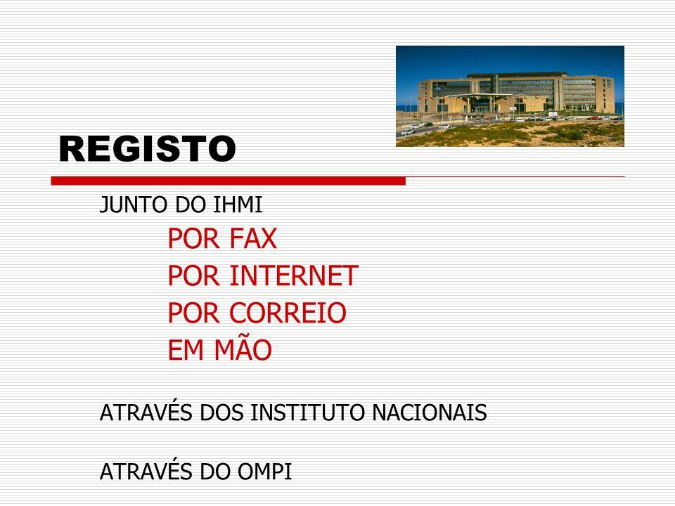 REGISTO POR FAX POR INTERNET POR CORREIO EM MÃO JUNTO DO IHMI