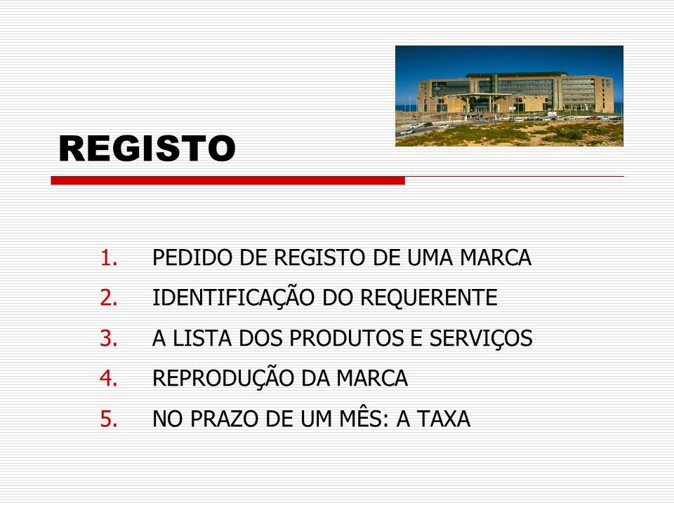 REGISTO PEDIDO DE REGISTO DE UMA MARCA IDENTIFICAÇÃO DO REQUERENTE