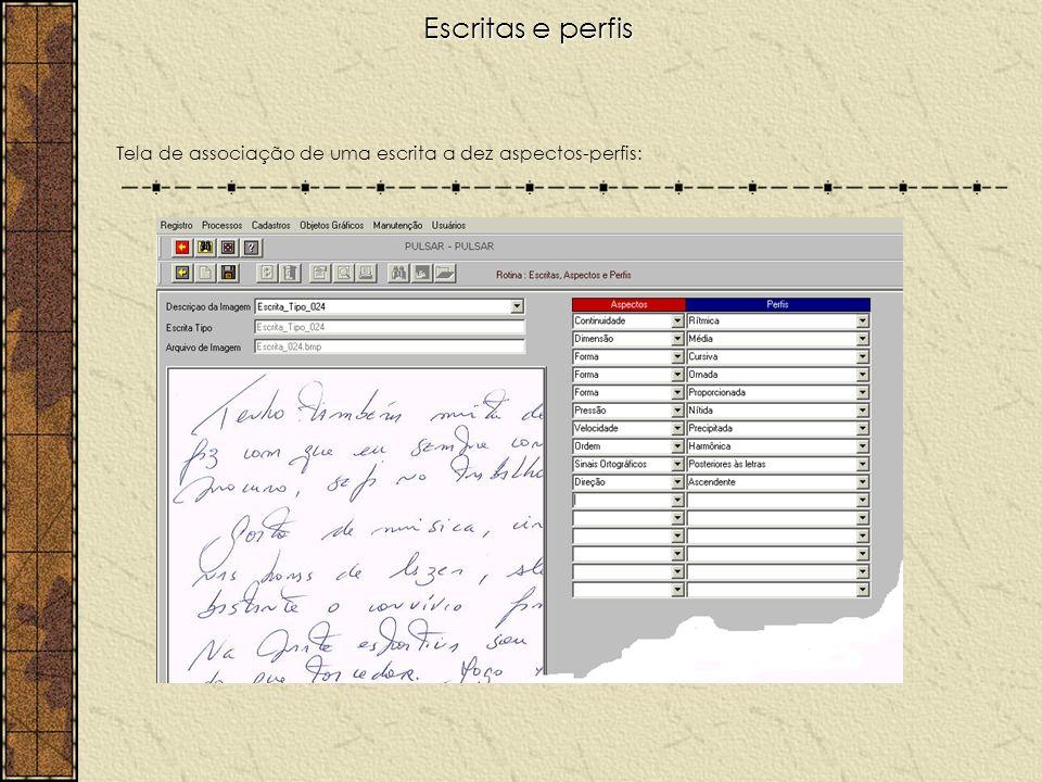 Escritas e perfis Tela de associação de uma escrita a dez aspectos-perfis: