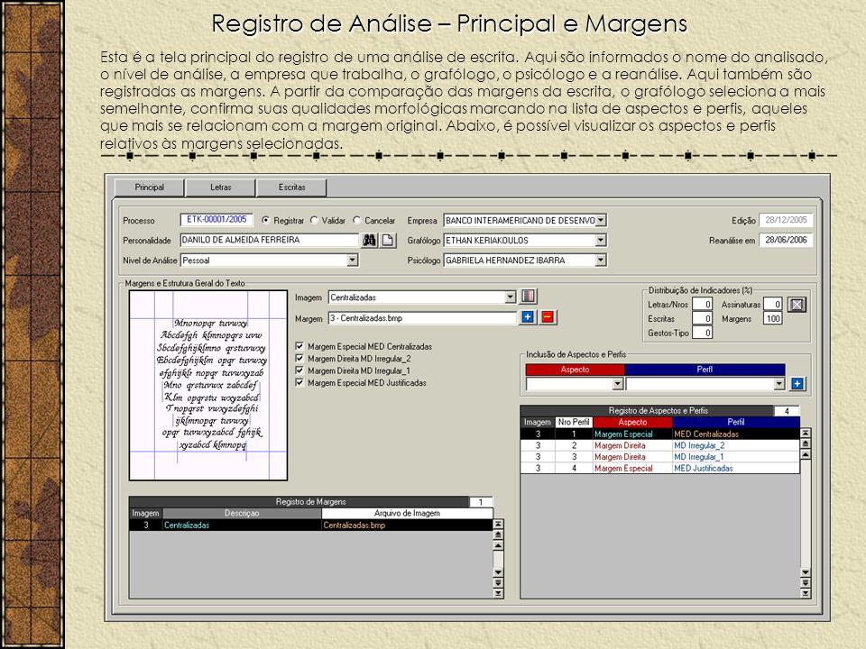Registro de Análise – Principal e Margens