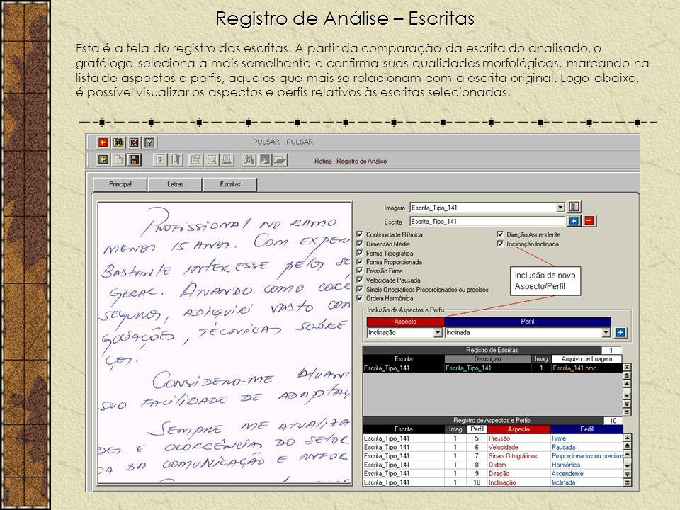 Registro de Análise – Escritas