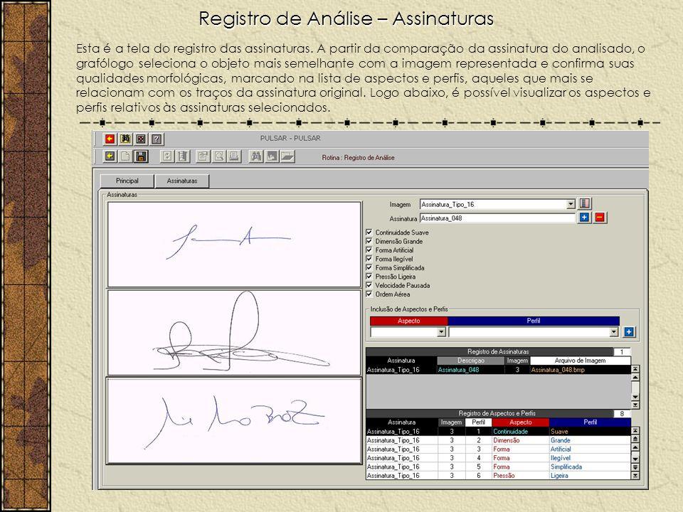 Registro de Análise – Assinaturas