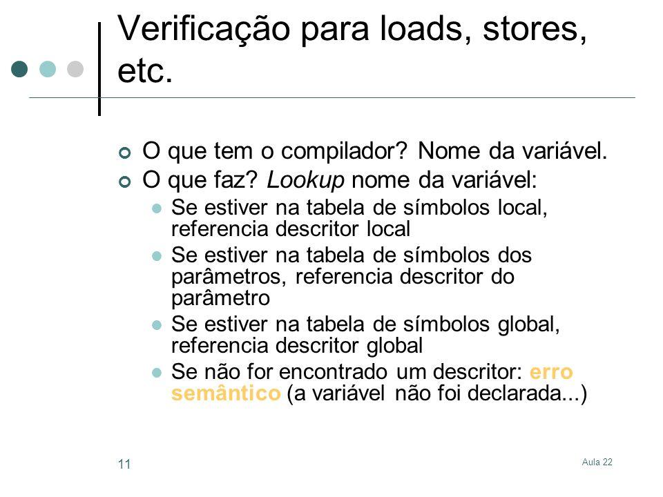 Verificação para loads, stores, etc.