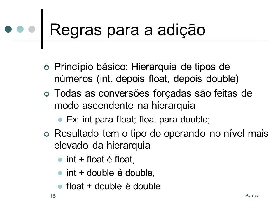 Regras para a adição Princípio básico: Hierarquia de tipos de números (int, depois float, depois double)