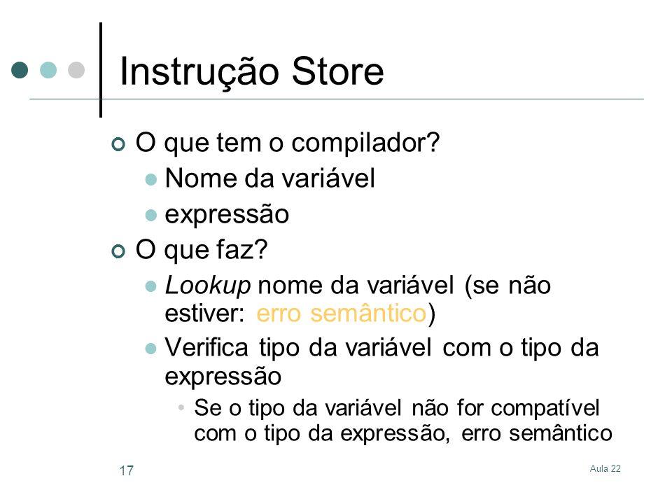 Instrução Store O que tem o compilador Nome da variável expressão