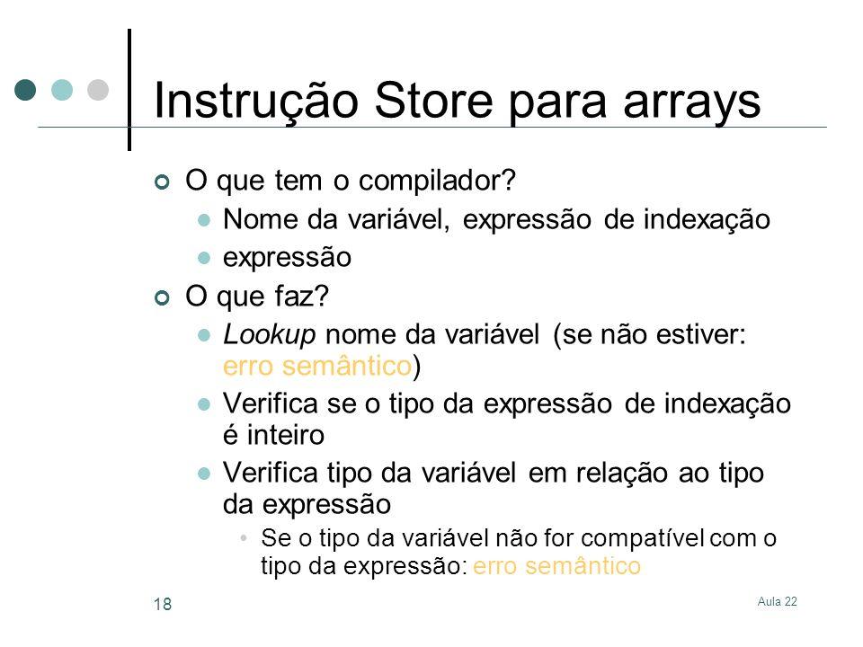 Instrução Store para arrays