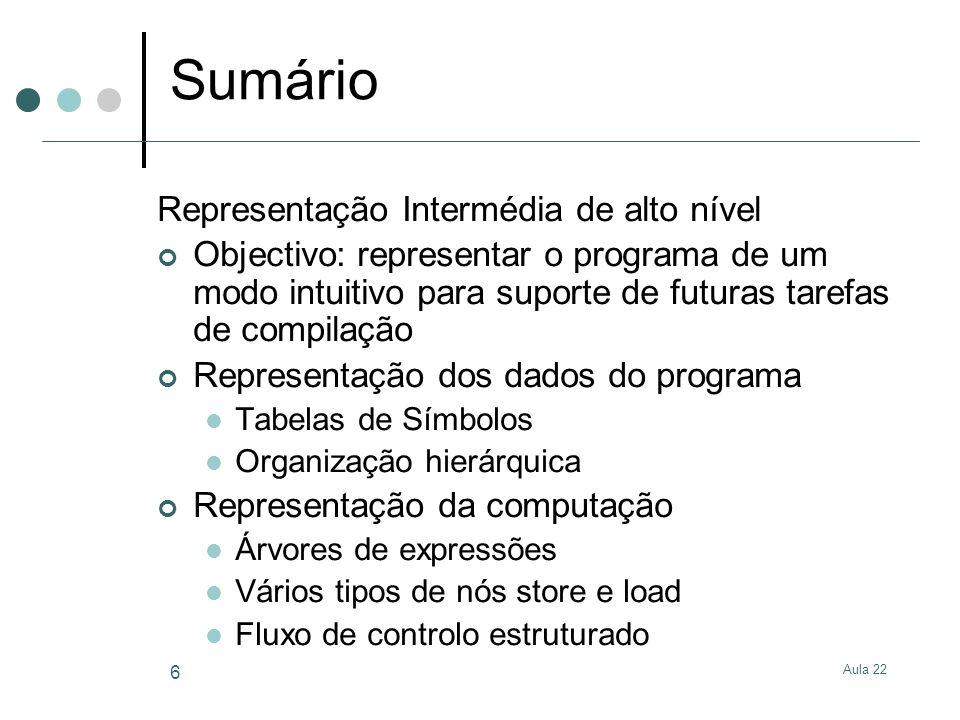 Sumário Representação Intermédia de alto nível