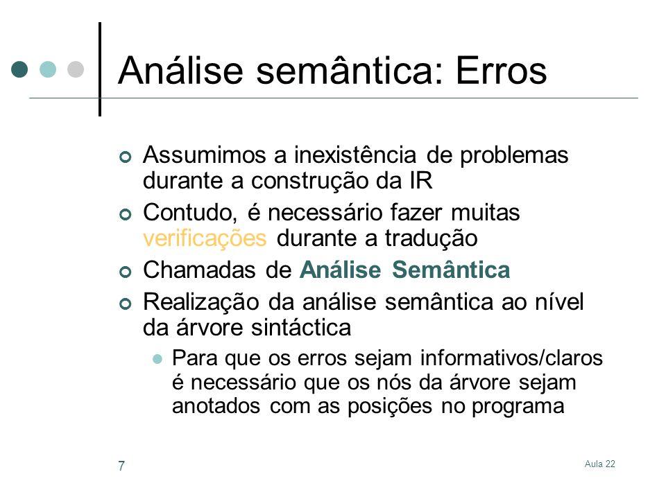 Análise semântica: Erros