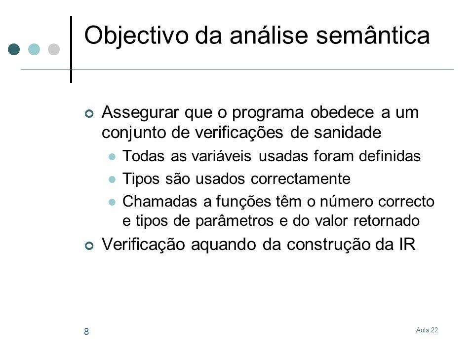 Objectivo da análise semântica