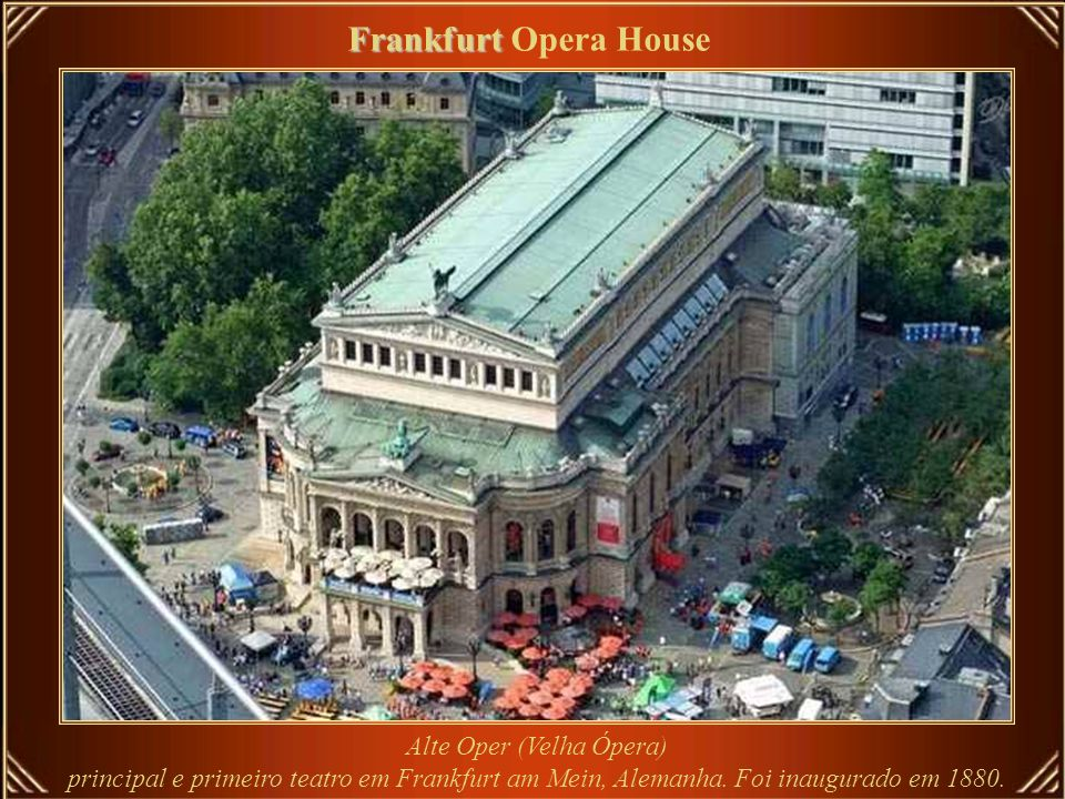 Frankfurt Opera House Alte Oper (Velha Ópera) principal e primeiro teatro em Frankfurt am Mein, Alemanha.