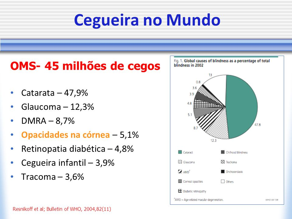 Cegueira no Mundo OMS- 45 milhões de cegos Catarata – 47,9%