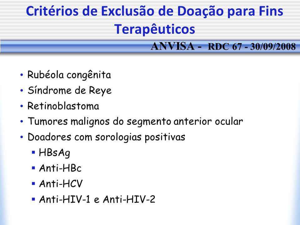 Critérios de Exclusão de Doação para Fins Terapêuticos