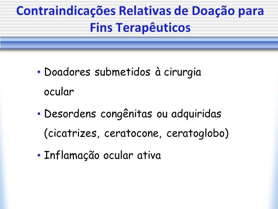 Contraindicações Relativas de Doação para Fins Terapêuticos