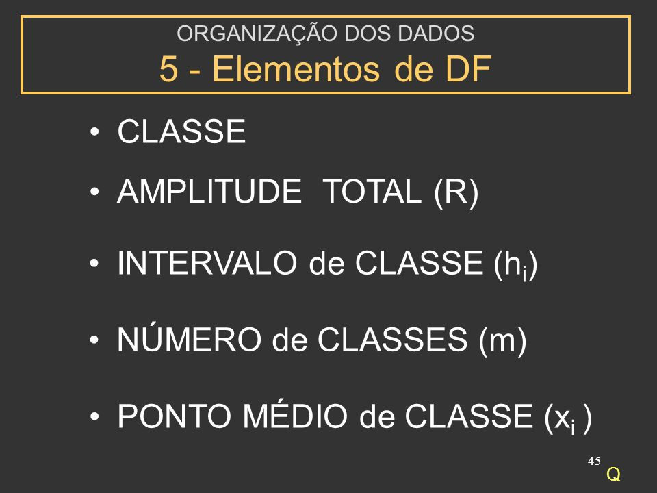 ORGANIZAÇÃO DOS DADOS 5 - Elementos de DF