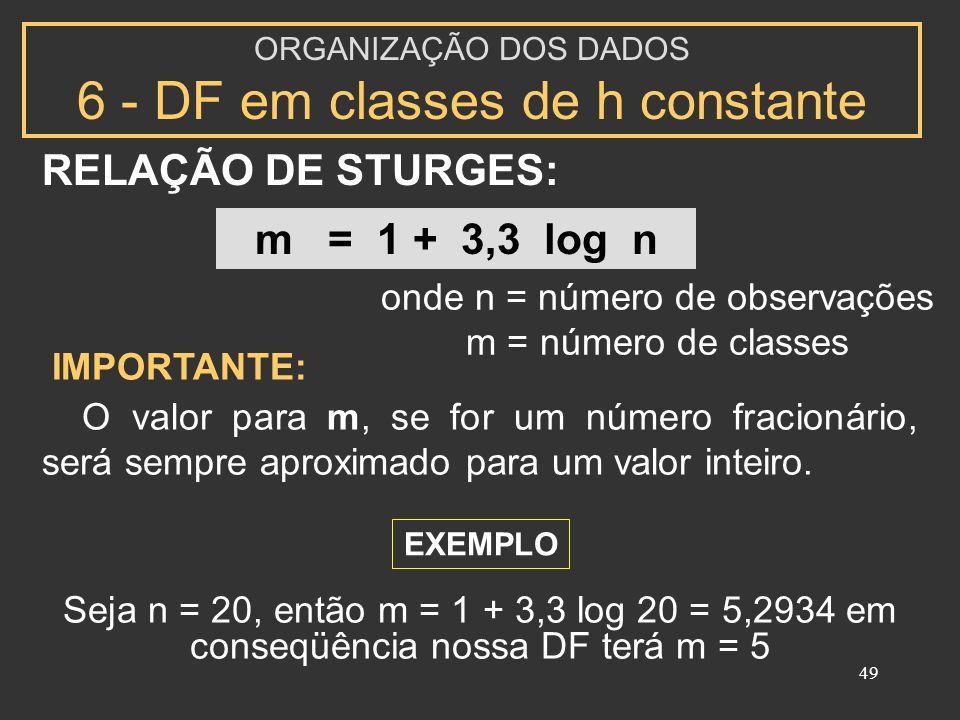 RELAÇÃO DE STURGES: m = 1 + 3,3 log n onde n = número de observações