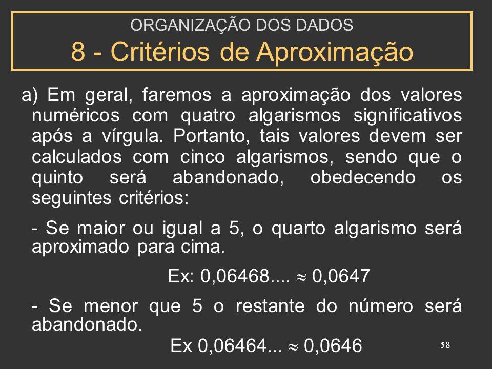 ORGANIZAÇÃO DOS DADOS 8 - Critérios de Aproximação