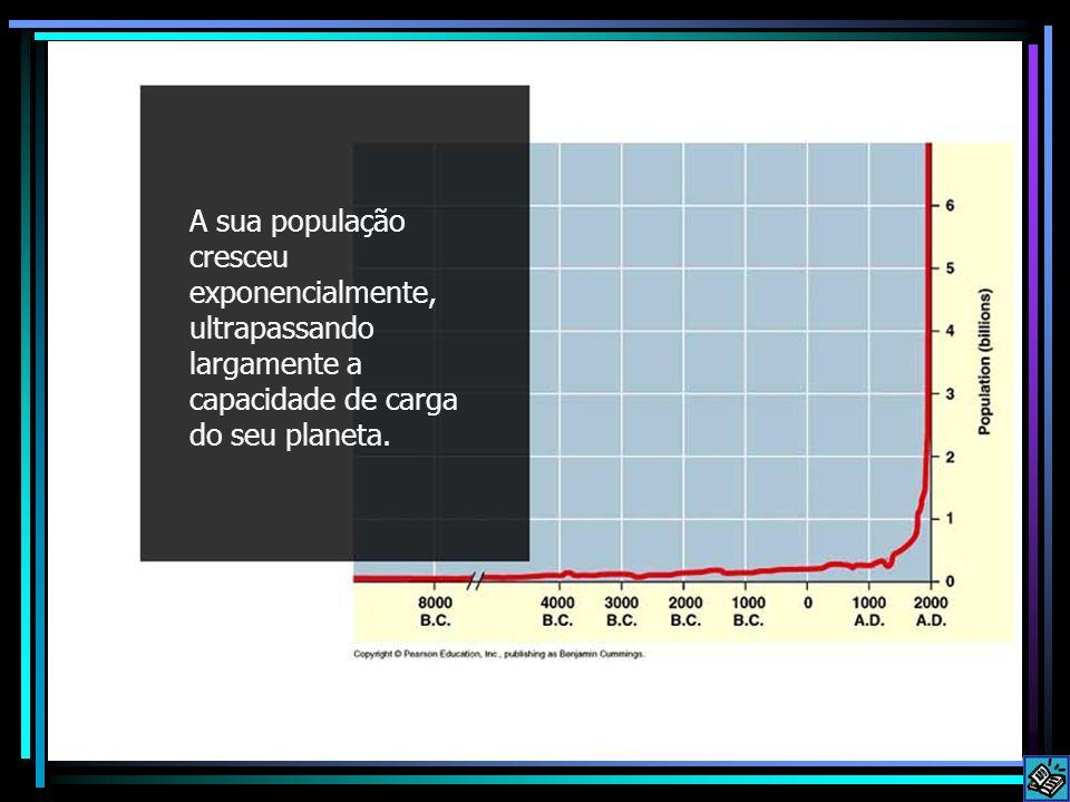 Exponential growth A sua população cresceu exponencialmente, ultrapassando largamente a capacidade de carga do seu planeta.
