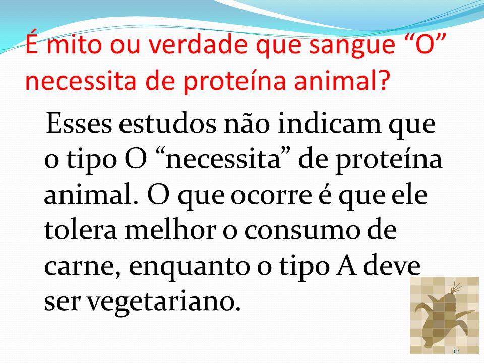É mito ou verdade que sangue O necessita de proteína animal